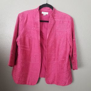Coldwater Creek Pink Embroidered Silk Jacket PL